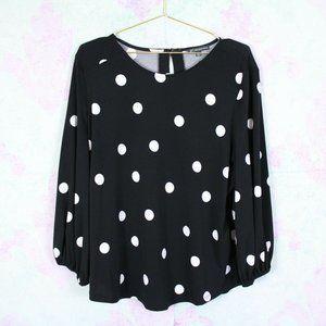 Adrianna Papell XL Black Polka Dot Stretch Top